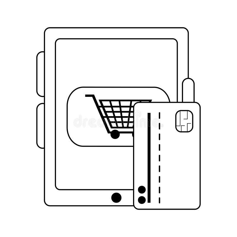 Compra em linha com tabuleta e cartão de crédito em preto e branco ilustração stock