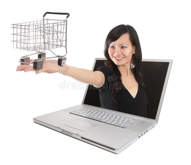 Compra em linha da mulher asiática fotos de stock