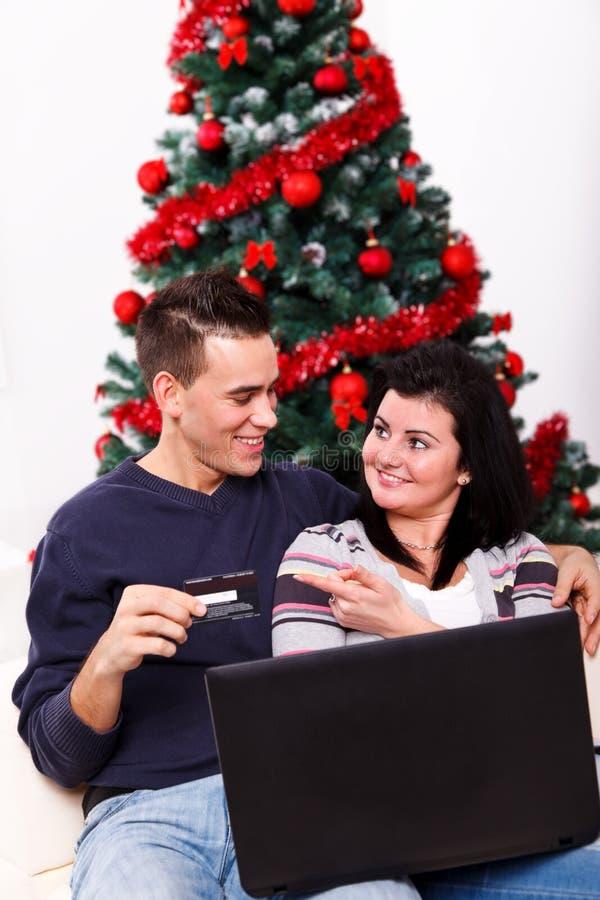 Compra em linha do Natal imagem de stock