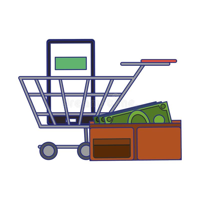 Compra em linha e linhas azuis dos s?mbolos das vendas ilustração do vetor