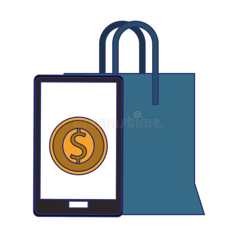 Compra em linha e linhas azuis dos s?mbolos das vendas ilustração stock