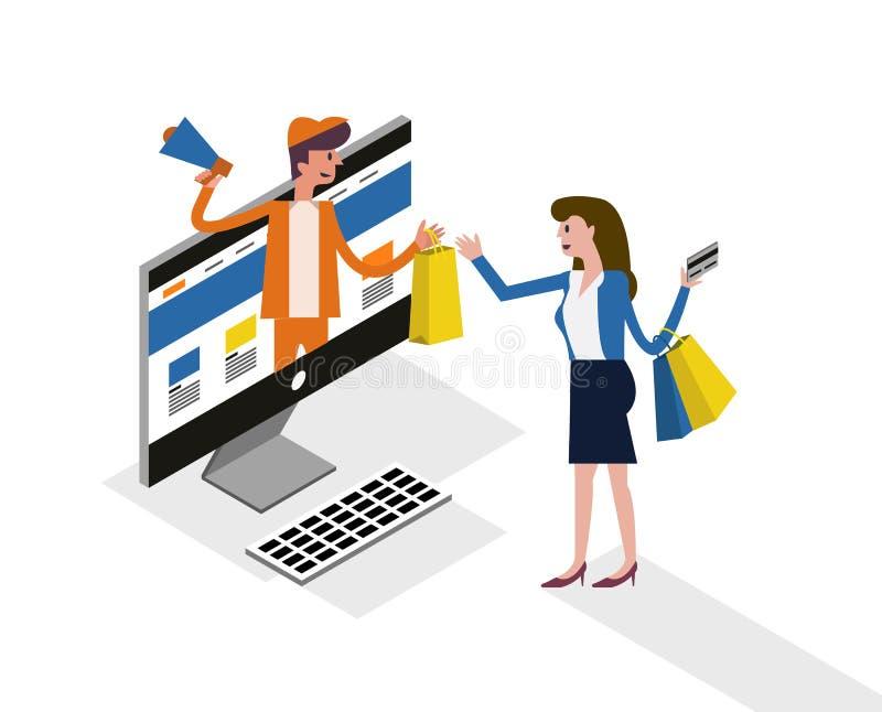 Compra em linha e mercado em linha no conceito do desktop do computador ilustração do vetor