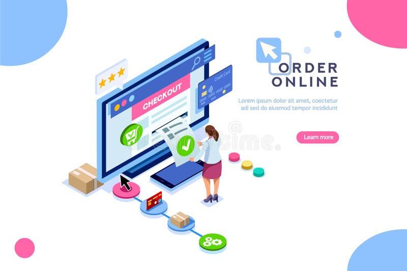 Compra em linha Infographic do cliente da ordem isométrico ilustração royalty free