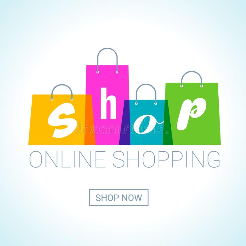 Compra em linha Logotipo dos sacos de compras Conceito da loja do Internet ilustração royalty free
