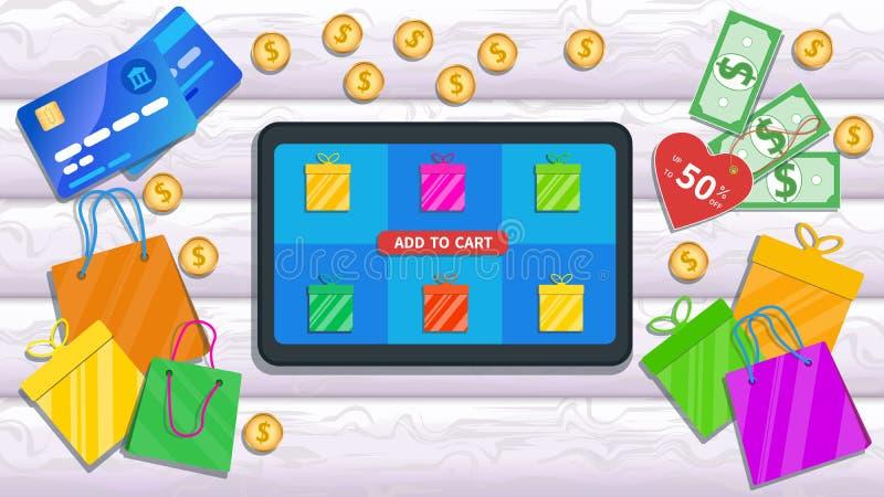 Compra em linha, loja com app móvel A tabuleta lisa com preço, o ícone das caixas de presente e adicionam ao botão do carro na te ilustração do vetor