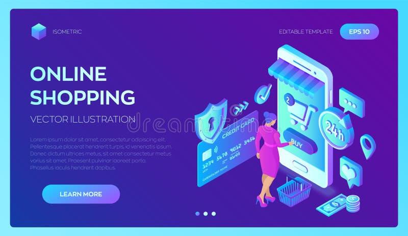 Compra em linha loja 3D em linha isométrica Compra em linha no Web site ou na aplicação móvel Caráter do cliente da mulher Comérc ilustração do vetor