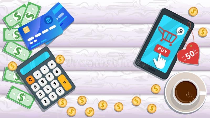 Compra em linha M-com?rcio Smartphone liso com 50 por cento fora no preço, ícone do carro, botão de clique da compra do ponteiro  ilustração royalty free