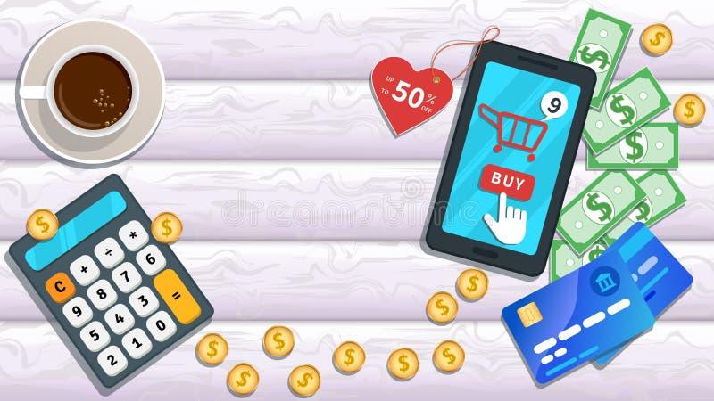 Compra em linha O smartphone liso com coração deu forma a 50 por cento fora no preço, ícone do carro, botão de clique da compra d ilustração royalty free