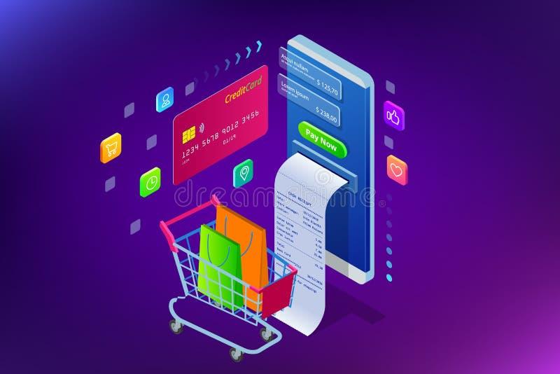 Compra em linha, venda, consumição e loja em linha Molde de compra em linha do smartphone esperto isométrico móvel ilustração stock