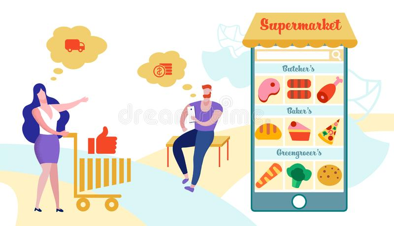 Compra en línea de la aplicación móvil del uso del cliente ilustración del vector
