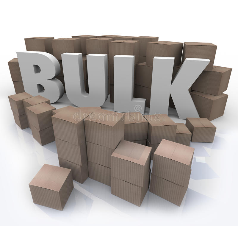 Compra en palabra a granel cantidad del volumen del producto de muchas cajas stock de ilustración