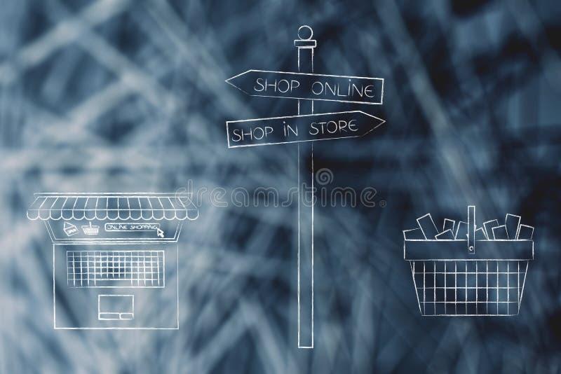 Compra en tienda o señal de tráfico en línea con el ordenador portátil y la cesta de compras ilustración del vector