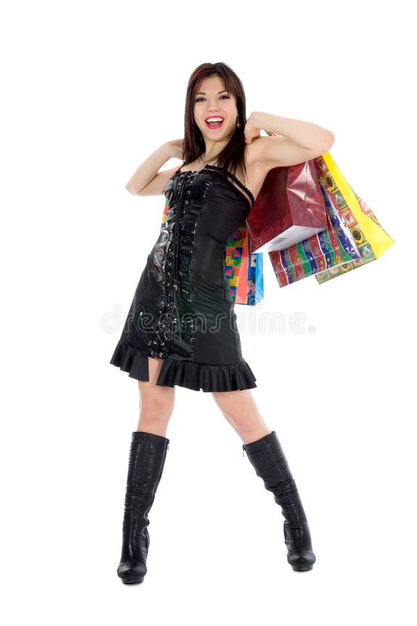 Compra expressivo da mulher foto de stock