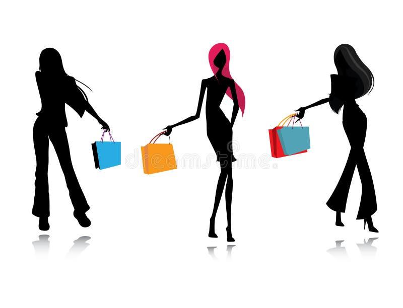 Compra fêmea da forma da silhueta ilustração royalty free