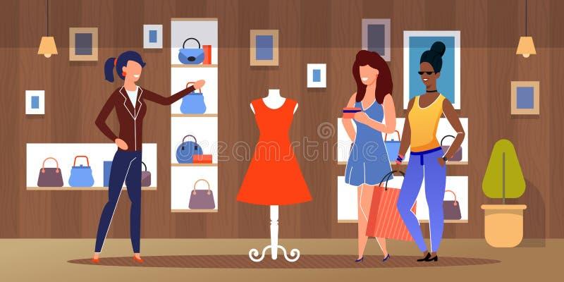 Compra fêmea diversa dos amigos na loja de roupa ilustração royalty free