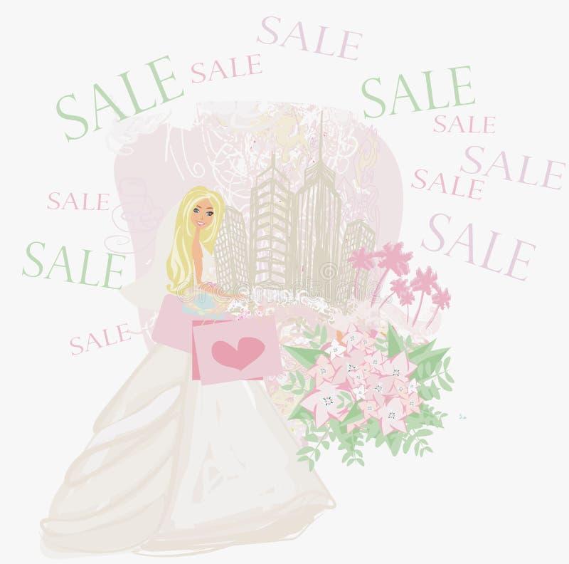 Compra feliz da noiva - cartão ilustração royalty free