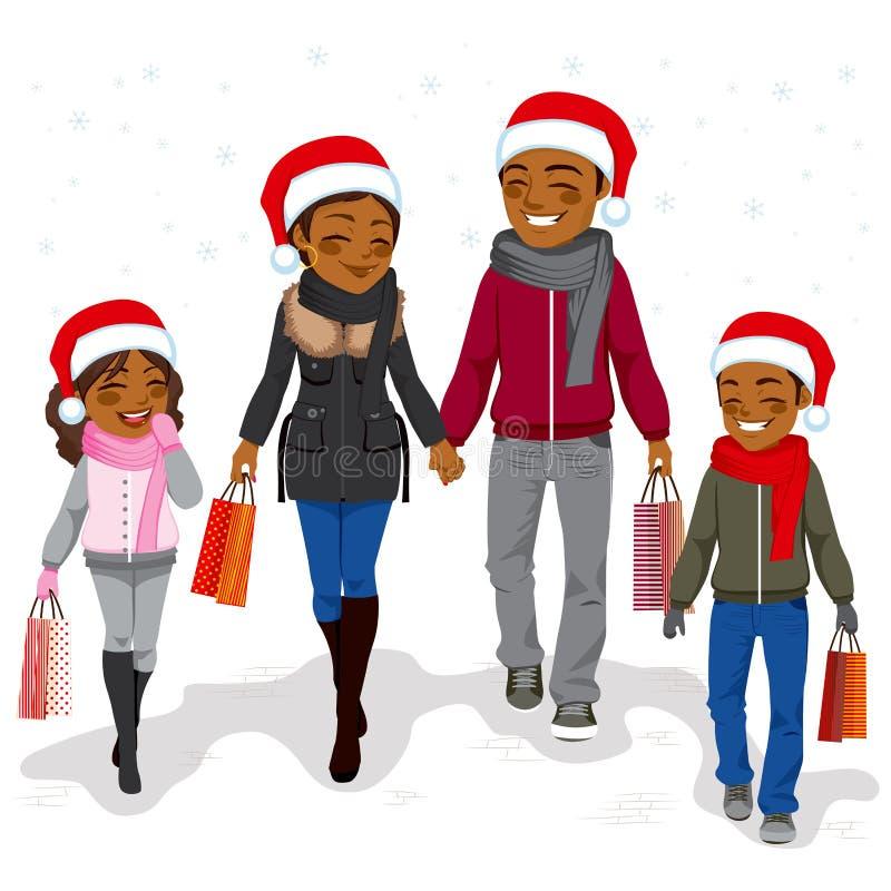 Compra feliz do Natal da família ilustração royalty free