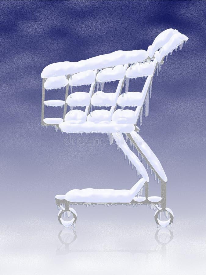 Compra fría. Carro de compras congelado Nevado stock de ilustración