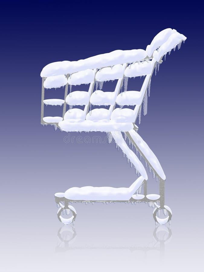 Compra fria. Carro de compra congelado nevado ilustração royalty free