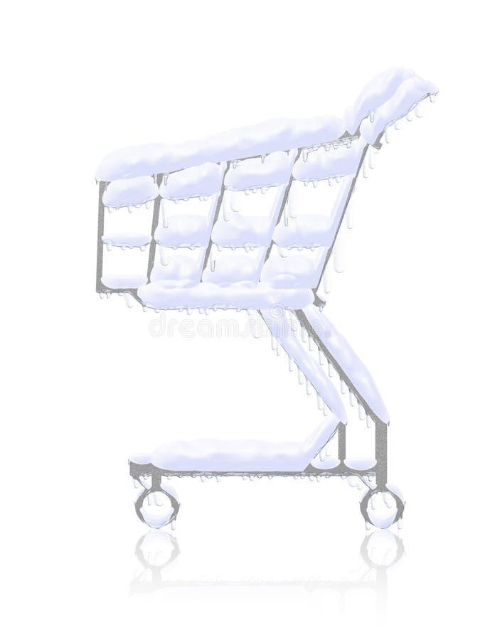 Compra fria. Carro de compra congelado nevado ilustração do vetor
