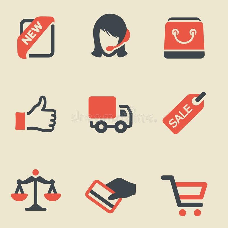 Compra grupo preto e vermelho do ícone ilustração do vetor