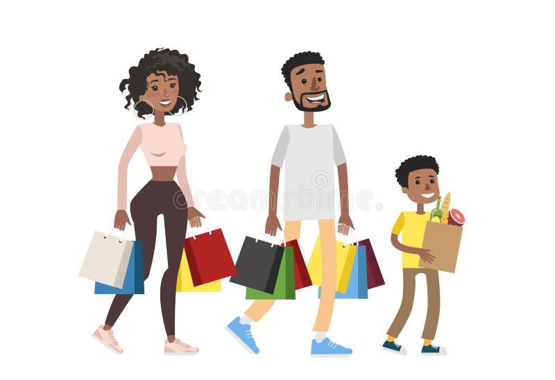 Compra isolada da família ilustração stock
