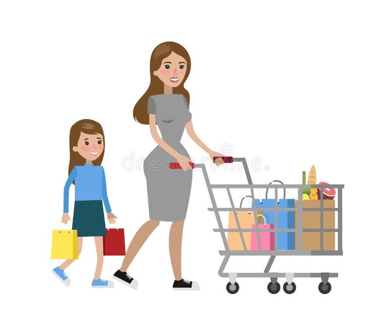 Compra isolada da família ilustração do vetor