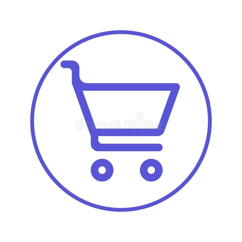 Compra, línea circular icono del carro de la compra Muestra redonda Símbolo plano del vector del estilo ilustración del vector