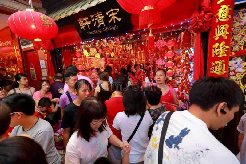 Compra lunar chinesa do ano novo do bairro chinês de Singapura imagens de stock