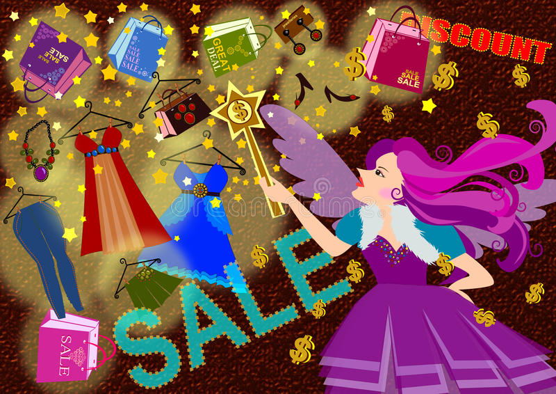 Compra mágica ilustração stock