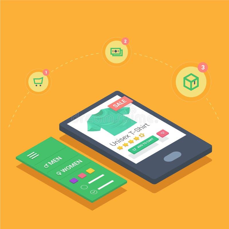 Compra móvel com aplicação responsiva do Web site do eshop ilustração royalty free