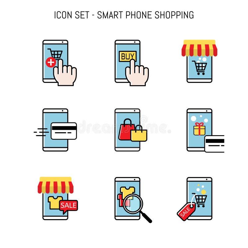 Compra móvel, comerciante esperto do telefone e conceitos do comprador, projeto colocado liso ilustração royalty free