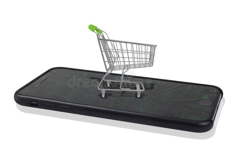 Compra móvel em linha fotos de stock royalty free