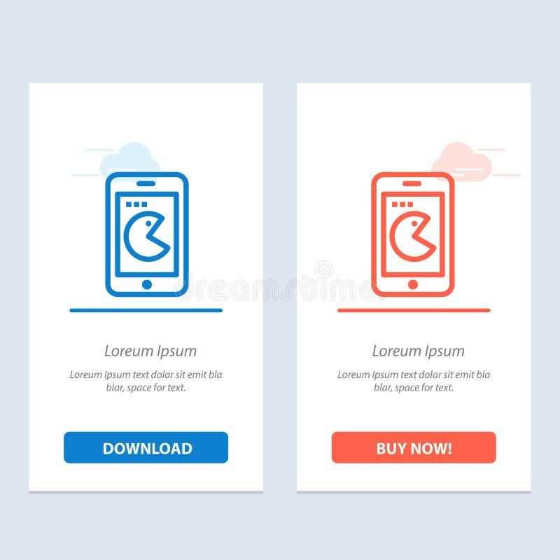 Compra, móvil, teléfono, azul del hardware y transferencia directa roja y ahora comprar la plantilla de la tarjeta del aparato de ilustración del vector