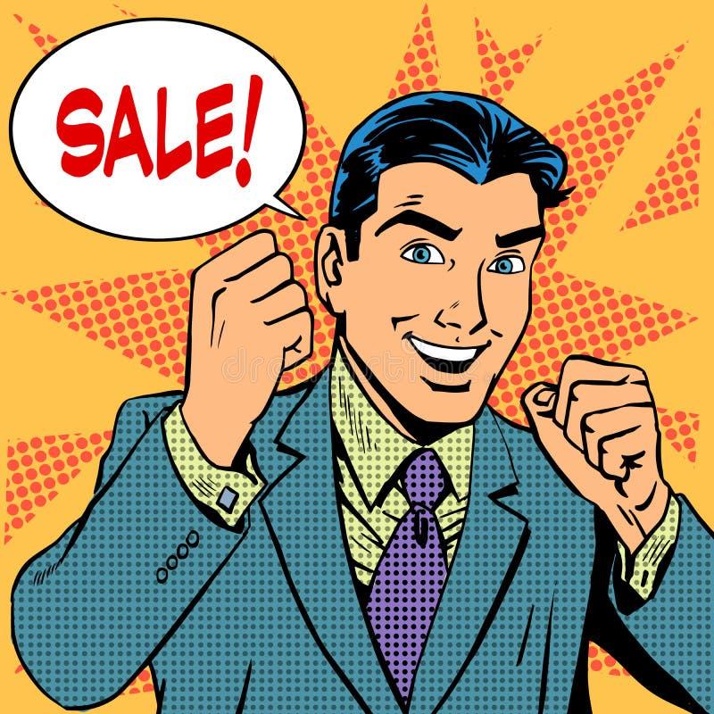 Compra masculina da loja de disconto das vendas da venda do homem de negócios ilustração royalty free