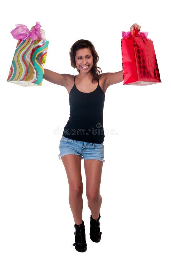 Compra muito feliz imagens de stock