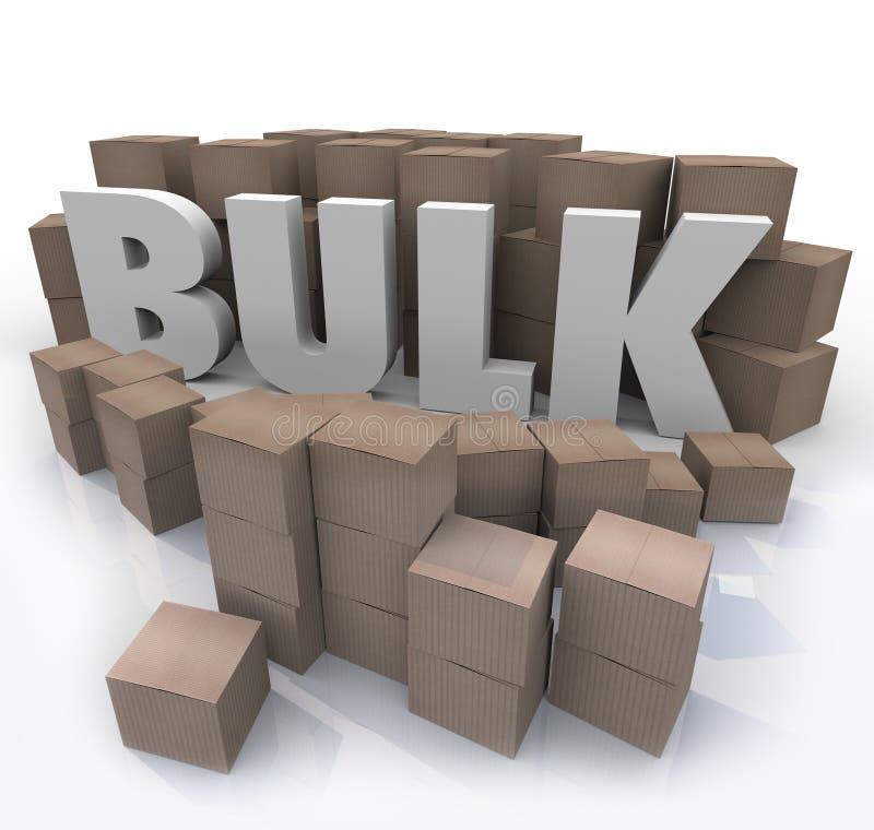 Compra na palavra maioria quantidade do volume do produto de muitas caixas ilustração stock