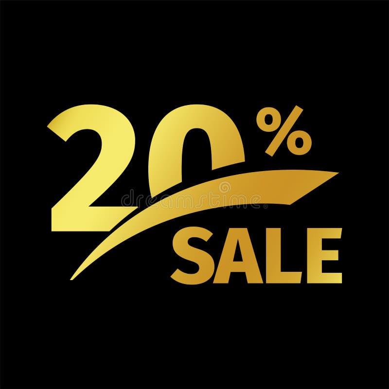 Compra negra del descuento de la bandera logotipo del oro del vector de la venta del 20 por ciento en un fondo negro Oferta promo stock de ilustración