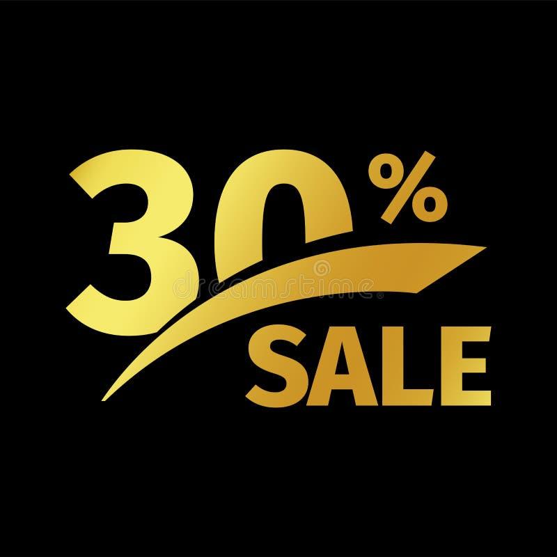 Compra negra del descuento de la bandera logotipo del oro del vector de la venta del 30 por ciento en un fondo negro Oferta promo libre illustration