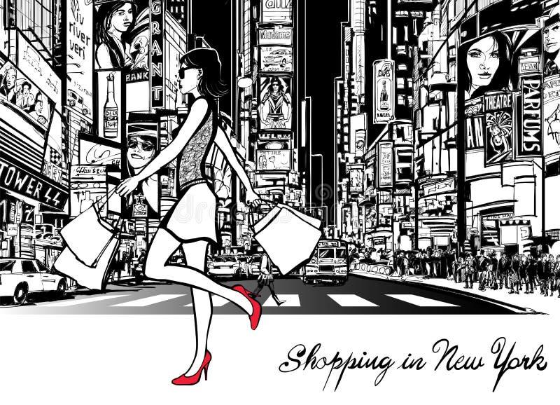 Compra no Times Square - New York ilustração do vetor