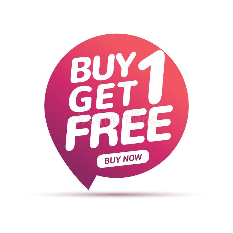 A compra 1 obtém 1 etiqueta livre da venda Molde do projeto da bandeira para introduzir no mercado Promoção ou retalho da oferta  ilustração stock