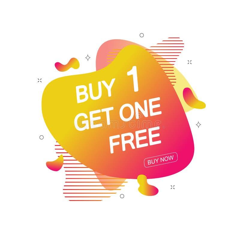 A compra 1 obtém uma etiqueta livre da venda Molde do projeto da bandeira para introduzir no mercado Promoção ou retalho da ofert ilustração stock