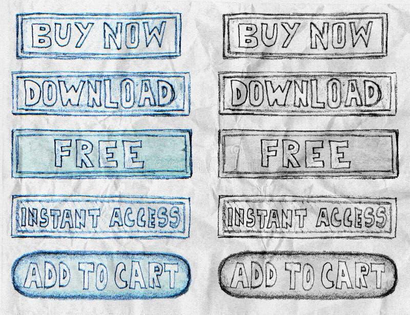 Compra tirada mão agora, livre e botões do acesso no papel amarrotado ilustração stock