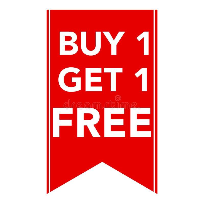 A compra uma fica um etiqueta livre, relativa à promoção da venda ilustração do vetor