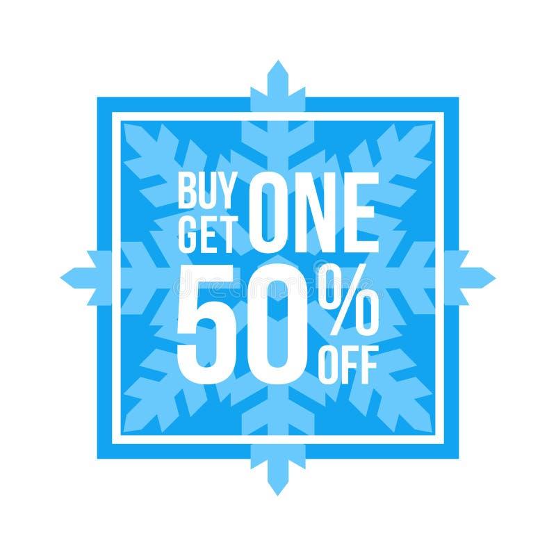 A compra uma obtém um 50% fora da venda do inverno do quadrado do sinal ilustração do vetor
