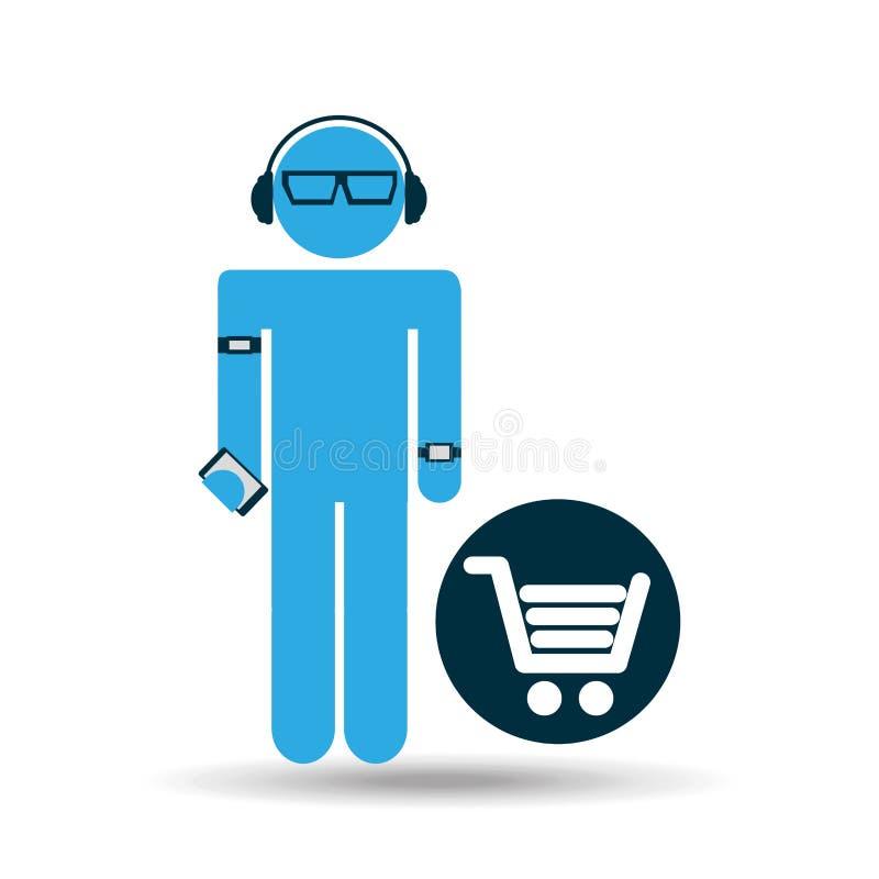 Compra wearable da tecnologia da silhueta ilustração stock