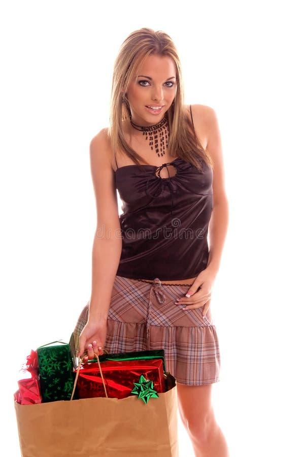 Comprador atractivo de la Navidad fotos de archivo libres de regalías