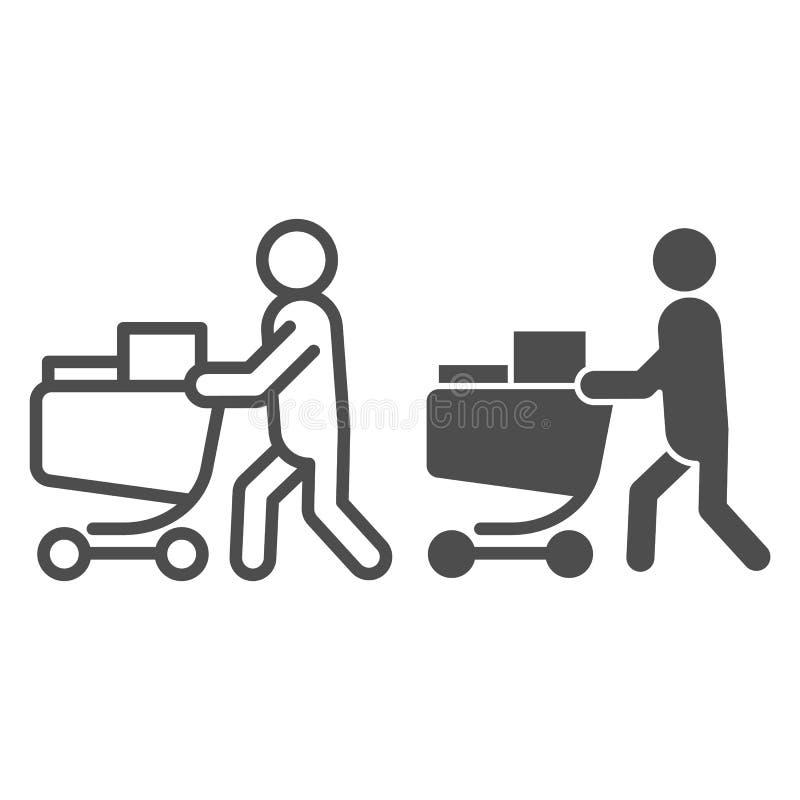 Comprador con la línea del carro y el icono completos del glyph Persona con un ejemplo completo del vector del carro del ultramar libre illustration