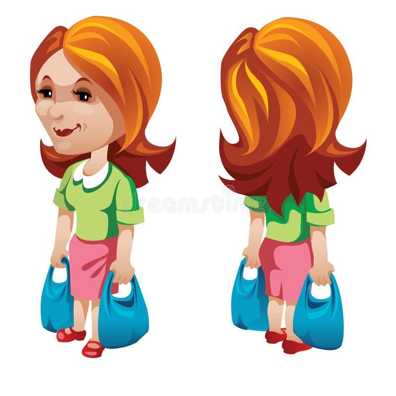 Comprador de mulher com sacos de compras Caráter do vetor ilustração royalty free