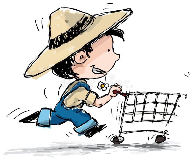 Comprador del muchacho de granja ilustración del vector